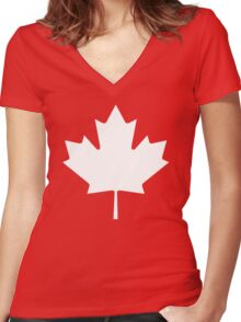 White maple leaf Women's Fitted V-Neck T-Shirt
