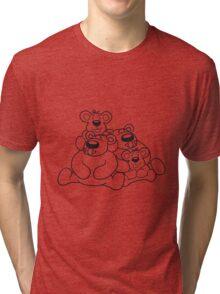 2 children siblings papa mama, son, daughter, family team polar bear sitting sweet cute comic cartoon teddy bear dick big Tri-blend T-Shirt