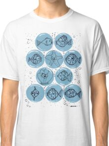 Cute Sea Animals and Funny Fish Floating in Bubbles Classic T-Shirt