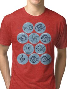 Cute Sea Animals and Funny Fish Floating in Bubbles Tri-blend T-Shirt