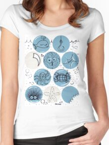 Cute Sea Animals Floating in Bubbles Women's Fitted Scoop T-Shirt