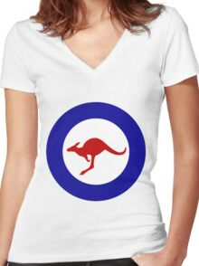 Roundel of the Royal Australian Air Force Women's Fitted V-Neck T-Shirt