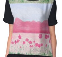 Landscape In Pink Chiffon Top
