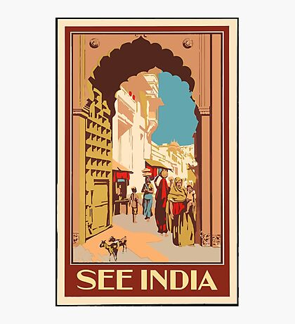 See Indian Vintage Travel Poster Photographic Print