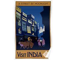 A Street by Midnight Visit India Vintage Travel Poster Poster