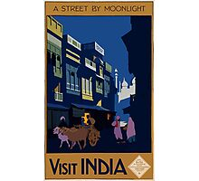 A Street by Midnight Visit India Vintage Travel Poster Photographic Print