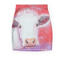 White Cow painting on red background Mini Skirt