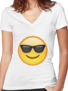 cool emoji Women's Fitted V-Neck T-Shirt