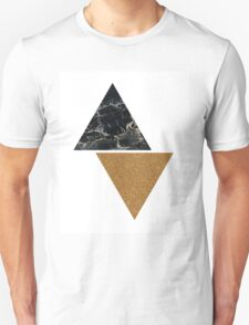 Black marble and gold glitter triangles Unisex T-Shirt