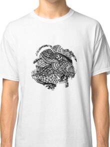 Hand drawing black and white zentangle pattern Classic T-Shirt
