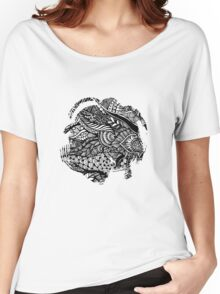 Hand drawing black and white zentangle pattern Women's Relaxed Fit T-Shirt