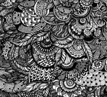 Hand drawing black and white zentangle pattern Sticker