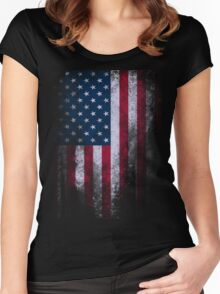 USA American Flag Women's Fitted Scoop T-Shirt