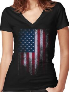 USA American Flag Women's Fitted V-Neck T-Shirt