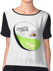 Bee Organic Milk Label Drawing Chiffon Top