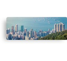 Panorama of Hong Kong Harbour in vintage tone, winter Canvas Print