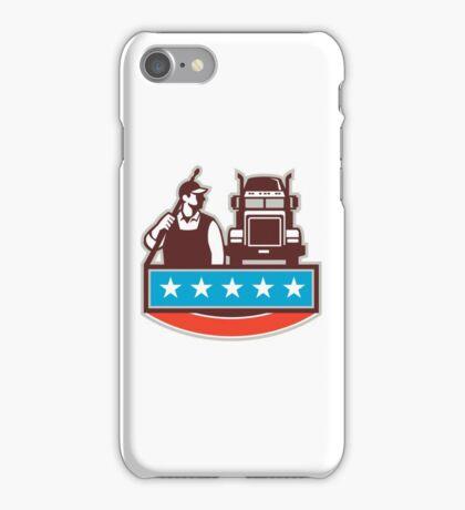 Pressure Washer Worker Truck USA Flag Retro iPhone Case/Skin