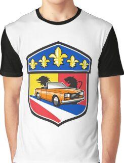 Vintage Cabriolet Fleur-de-Lis Crest Retro Graphic T-Shirt
