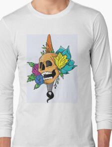 Blooming Skull and Brush Long Sleeve T-Shirt