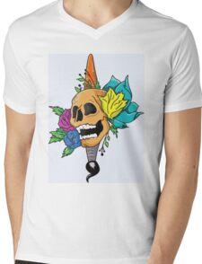 Blooming Skull and Brush Mens V-Neck T-Shirt