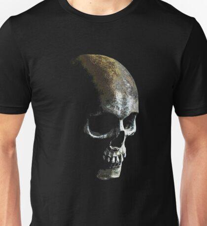 Human Skull with Black Skull Horror Unisex T-Shirt