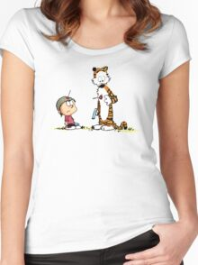Calvin And Hobbes playing Women's Fitted Scoop T-Shirt