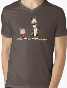 Calvin And Hobbes playing Mens V-Neck T-Shirt