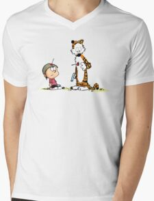 Calvin And Hobbes playing Mens V-Neck T-Shirt