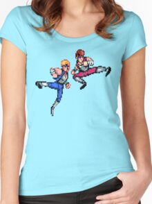Double Dragon Jump Kicks Women's Fitted Scoop T-Shirt
