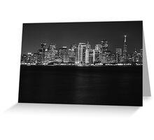 San Francisco Holiday Skyline B&W Greeting Card