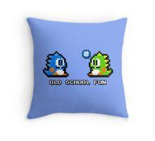 Old School Fun - Bubble Bobble - Bub and Bob - Arcade Fun + Retro Love Throw Pillow
