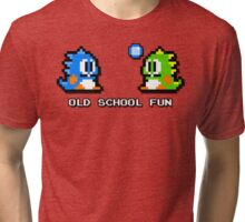 Old School Fun - Bubble Bobble - Bub and Bob - Arcade Fun + Retro Love Tri-blend T-Shirt