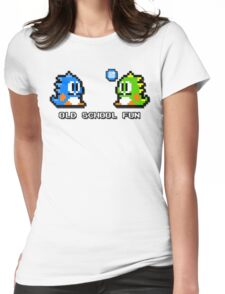 Old School Fun - Bubble Bobble - Bub and Bob - Arcade Fun + Retro Love Womens Fitted T-Shirt