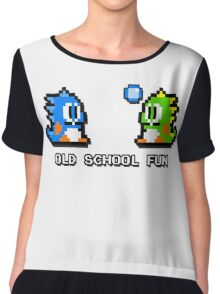 Old School Fun - Bubble Bobble - Bub and Bob - Arcade Fun + Retro Love Chiffon Top