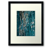 Blue Old Peeling Paint Wood Wall Texture Framed Print