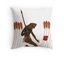 Ancient Greek Farmer Kneeling Before Poppy Throw Pillow