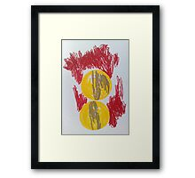 Abstract Movement- gold, red and yellow  Framed Print