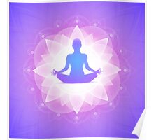 Yoga Harmony Purple Floral Art Illustration Poster