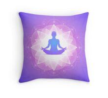 Yoga Harmony Purple Floral Art Illustration Throw Pillow