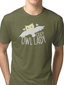 Crazy owl lady (white snowy owl) Tri-blend T-Shirt