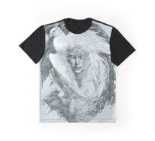 Fairy lady with white peacock and raven. Graphic T-Shirt