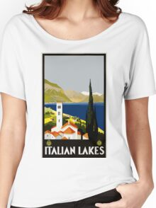 Italian Lakes Vintage Travel Poster Women's Relaxed Fit T-Shirt