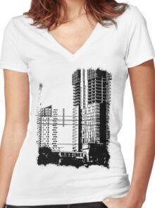 Skyscraper Under Construction Women's Fitted V-Neck T-Shirt