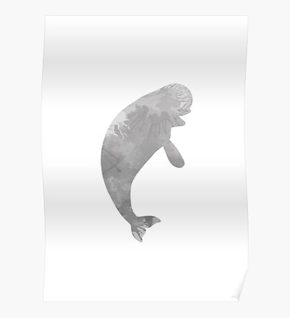 Beluga whale inspired silhouette Poster