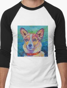Dog portrait dog painting Men's Baseball ¾ T-Shirt