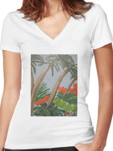 Palms Women's Fitted V-Neck T-Shirt
