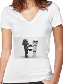 Lego Star Wars Stormtroopers Love Minifigure Women's Fitted V-Neck T-Shirt
