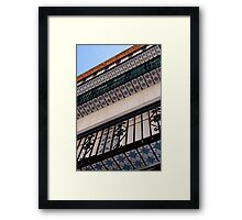 Abstract-02 - Blue Pattern Tiered Tiled Building Framed Print