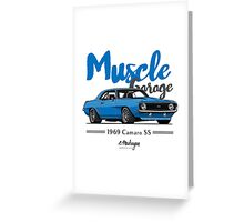 Muscle Garage. Camaro SS 1969 (blue) Greeting Card