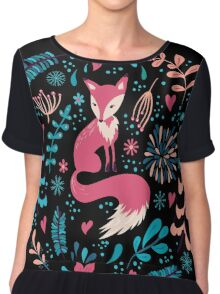 Fox with winter flowers and snowflakes Chiffon Top